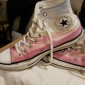 CONVERSE ALL STAR PINK AND WHITE HI TOP HIGHWAY